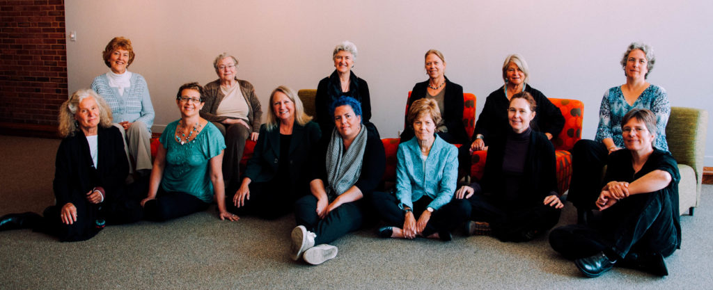First row, left to right: Bonnie Mennell (witness), Janet Echelman, Kathleen Dean Moore, Camille Seaman, Diana Chapman Walsh, Lama Willa Miller, Susi Moser. Second row, Mary Evelyn Tucker, Mary Catherine Bateson, Sarah Buie, Joanie Kleypas, Gretel Ehrlich, Beth Sawin.